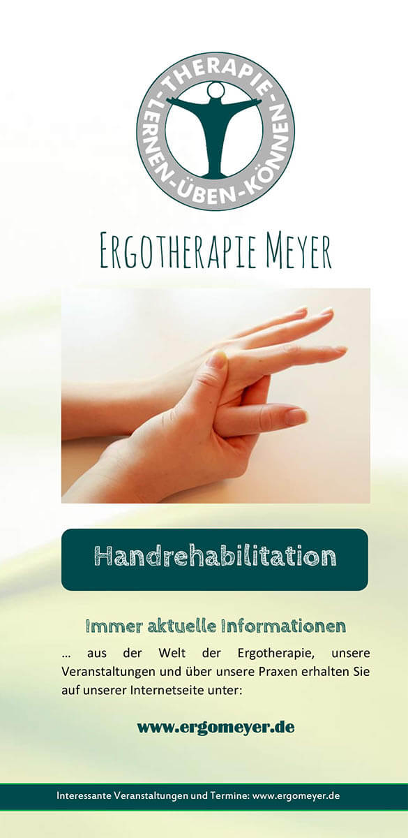 Infobroschüre der Ergotherapie Meyer zum Thema Handrehabilitation