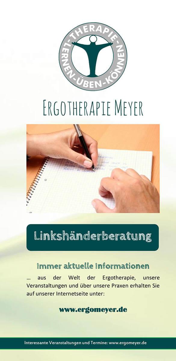 Infobroschüre der Ergotherapie Meyer zum Thema Linkshänderberatung
