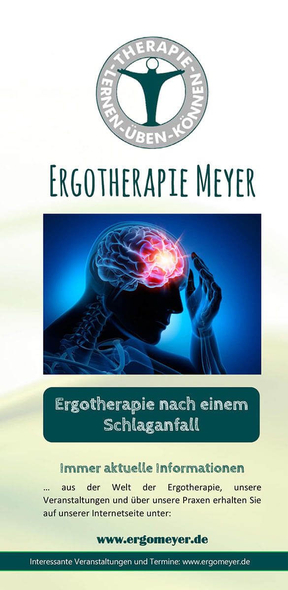 Infobroschüre der Ergotherapie Meyer zum Thema Ergotherapie nach einem Schlaganfall