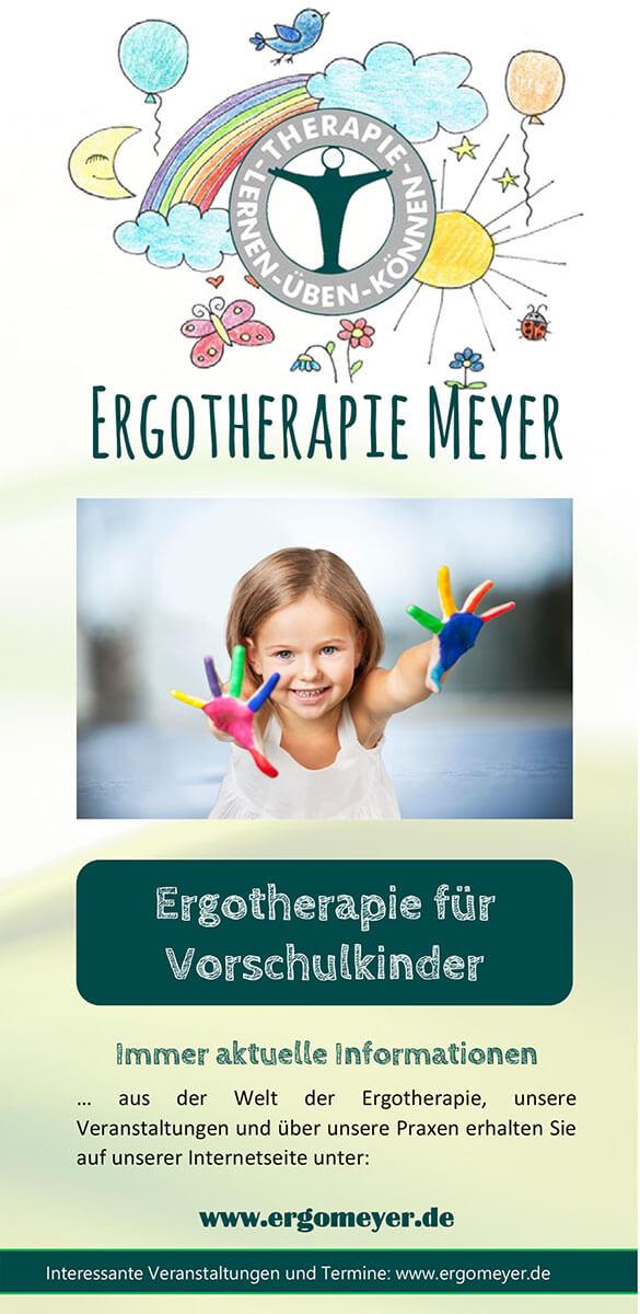 Infobroschüre der Ergotherapie Meyer zum Thema Ergotherapie für Vorschulkinder