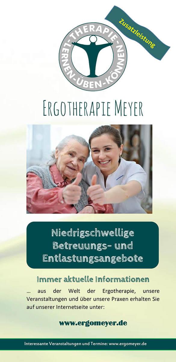 Infobroschüre der Ergotherapie Meyer zum Thema Niedrigschwellige Betreuung